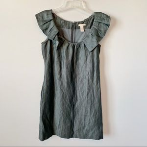 J. Crew Gunmetal Linen Blend Ruffle Sleeve Dress
